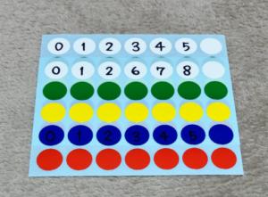 白と青のシールに数字を記入